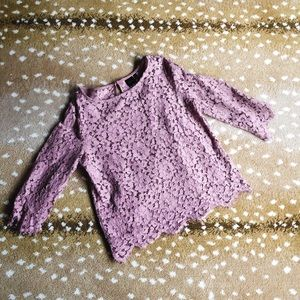 Lace 3/4 sleeve top with camisole in orchid color